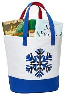 """Blue Snowflake Holiday Traditions Canvas Tote 18"""" x 14.25"""" x 7.25"""" by Barnes & Noble: Product Image"""