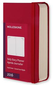 2016 Moleskine 12M Planner Daily Extra Small Scarlet Red