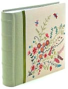 Product Image. Title: Floral Dragonfly Embroidered Photo Album 9x9