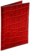 Product Image. Title: Red Crocodile Embossed Leather Passport Holder