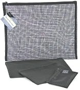 Product Image. Title: Black Grid Mesh Pouch set of 4