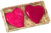 Product Image. Title: Miiniature Alabaster Heart Paperweights Box of 2 - Pink and Fuchsia