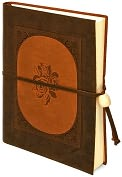 Product Image. Title: Inlay Rose Brown Italian Leather Journal with Tie