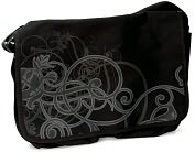 "Product Image. Title: Black Scroll Design Canvas Messenger Bag (16.5"" x 12.5"")"