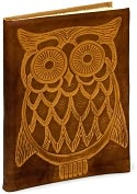 "Product Image. Title: Owl Embossed Tan Italian Leather Journal (6"" x 8"")"
