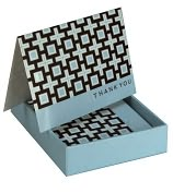 Product Image. Title: Jonathan Adler Kensington Blue Thank You Note Cards, Set of 8