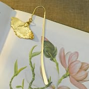 Product Image. Title: Gingko Leaf Gold Book Hook