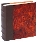 Product Image. Title: Burlwood Photo Album with Brown Genuine Leather Spine (9&quot; W x 9&quot; L)