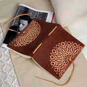 Product Image. Title: Vetro Stamped Brown Italian Leather Journal with Tie-6x8