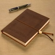 "Product Image. Title: Tooled Border Brown Italian Leather Journal with Bead Tie-( 6""x8')"