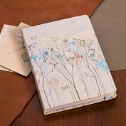 "Product Image. Title: Butterflies Beige/Blue Bound Journal (5'x7"")"