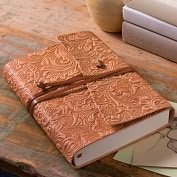 "Product Image. Title: Tivoli Embossed Floral Tan Wrap Italian Leather Journal (6""x8"")"