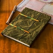 "Product Image. Title: Olive Nepal Paper Journal with Stick Closure (6"" x 8"")"