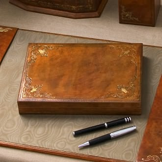 Hand Crafted Gold Embossed Leather Pen Box