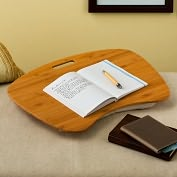 Product Image. Title: Bamboo Wood Contour Lap Desk with Cotton Hopsack Pillow