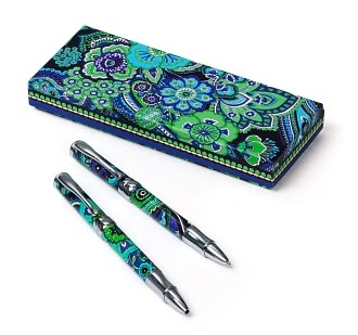 Vera Bradley Blue Rhapsody Pen & Pencil Set