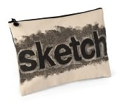 "Product Image. Title: Sketch ""Rubbed Out"" Fabric Accessory Pouch (7""x10"")"