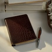 Product Image. Title: Brown Croc Embossed Refillable Journal w/Refill (7'')