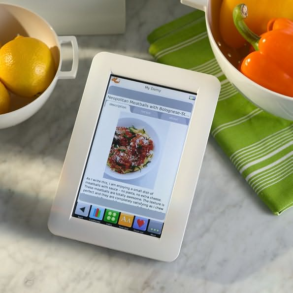 kitchen-safe digital recipe reader -