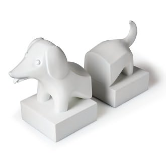 Jonathan Adler Dachshund White Resin Bookends by Barnes & Noble: Product Image