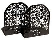"Product Image. Title: Black Decorative Metal Bookends Set of 2 (4 3/4"" x 3 3/4"")"