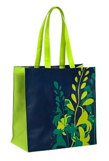 Navy and Green Floral Tote by  Smudge Ink