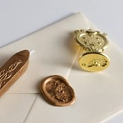Product Image. Title: Peacock Wax Seal Set with Gold Wax