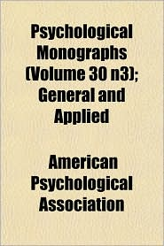 Psychological Monographs ; General and Applied
