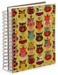Product Image. Title: 100% Recycled Jumbo Owls Lined Spiral Journal (6''x9'')