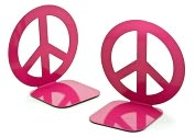 Product Image. Title: Jonathan Adler Love Dove Peace Sign Fuchsia Metal Bookend set of 2