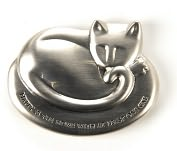 Product Image. Title: Cat Brushed Metal Silver Paperweight