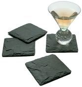 "Product Image. Title: Slate Coasters, charcoal, set of 4, 4"" x 4"""