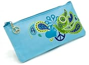 Product Image. Title: Jonathan Adler Blue Love Dove Embroidered Pencil Pouch (4x9)