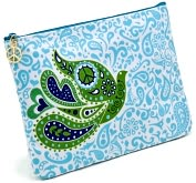 Product Image. Title: Jonathan Adler Blue Love Dove Embroidered Accessory Pouch (7x10)
