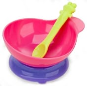 Product Image. Title: Pink Suction Based Baby Bowl and Spoon Feeding Set