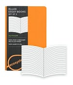 Product Image. Title: Ecosystem 100% Recycled Essay Ruled Clementine Journal (3.6'x5.6'') Set of 3
