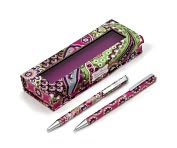 Product Image. Title: Vera Bradley Very Berry Paisley Pen and Pencil Set