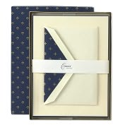 Product Image. Title: Hand Bordered Fleur de Lis Half Sheets in Ecruwhite