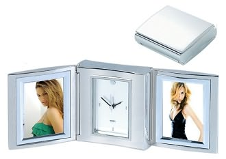 Silver Trifold Alarm Clock with Double Frame