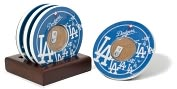 Product Image. Title: Los Angeles Dodgers Coasters with Game Used Dirt - Set of 4