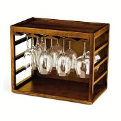 Product Image. Title: Cube-Stack Wine Glass Rack in Walnut Stain