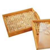 Product Image. Title: Square Wine Cork Serving Tray Kit