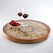Product Image. Title: Round Wine Cork Serving Tray Kit