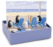 Product Image. Title: Dogs On Deck Chairs Note Card Set Of 14