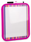 Product Image. Title: Pink Stripe Dry Erase Board with Marker (8.5x11)