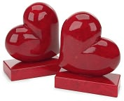 Product Image. Title: Floating Red Heart Italian Alabaster Bookends (Set of 2)