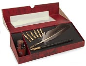 Product Image. Title: Feather Pen Set With Ink