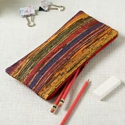 Product Image. Title: Rustic Stripe Recycled Newsprint Pencil Pouch (9.75''x4.5'')