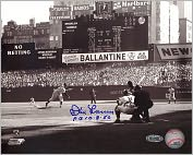 Product Image. Title: Autographed Don Larsen First Pitch Black & White Horizontal 8x10 Photograph with Perfect Game 10-8-56 Inscription