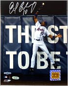 Product Image. Title: New York Mets, Endy Chavez Autographed 2006 NLCS Game Seven Robbing Home Run 8x10 Photograph